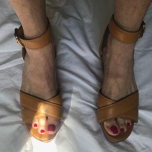 Tory Burch Almita Camel Wedge Sandals size 10